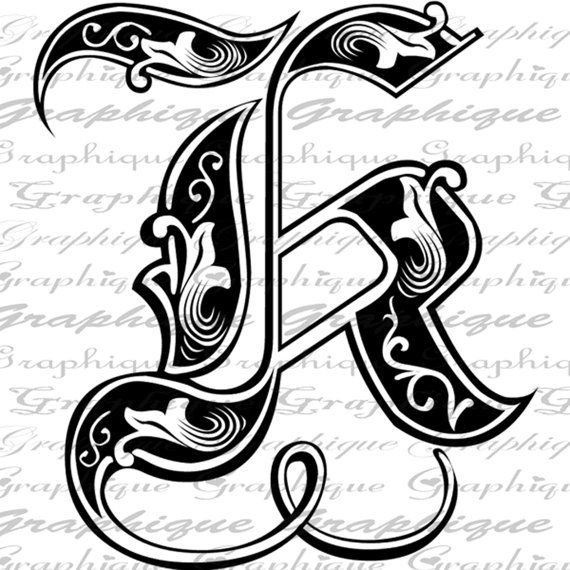 LETTER Initial K Monogram Old ENGRAVING Style Type By