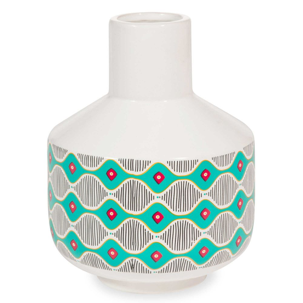 BAMAKO white ceramic vase with multicoloured motifs H 20 cm