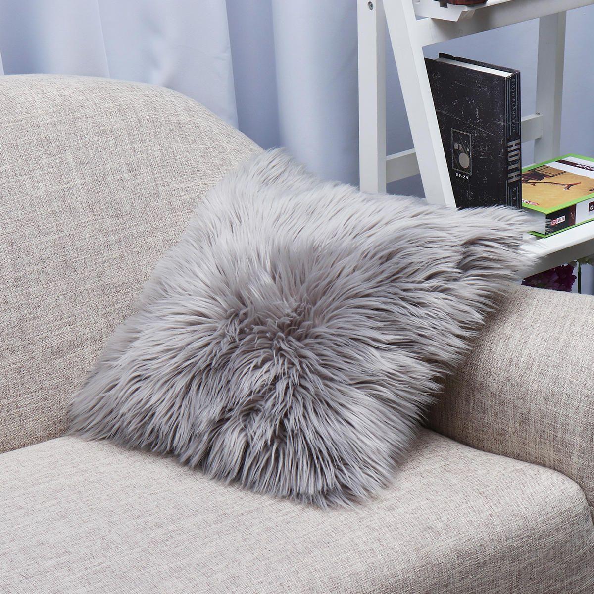 Soft Fluffy Plush Cushions Cover Pillow Case Sofa Car Pillowcase Home Decorative