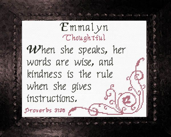 Emmalyn name blessings personalized cross stitch design future cross stitch emmalyn with a name meaning and a bible verse negle Image collections