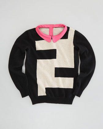 381bdd323c1 Girls\' Logo Sweater with Collar, Black/Beige, Sizes 2-5 by Fendi at Neiman  Marcus.