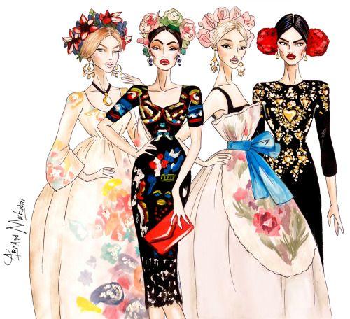 FASHION ILLUSTRATIONS by ARMAND MEHIDRI. — Models in Dolce & Gabbana - by Armand Mehidri