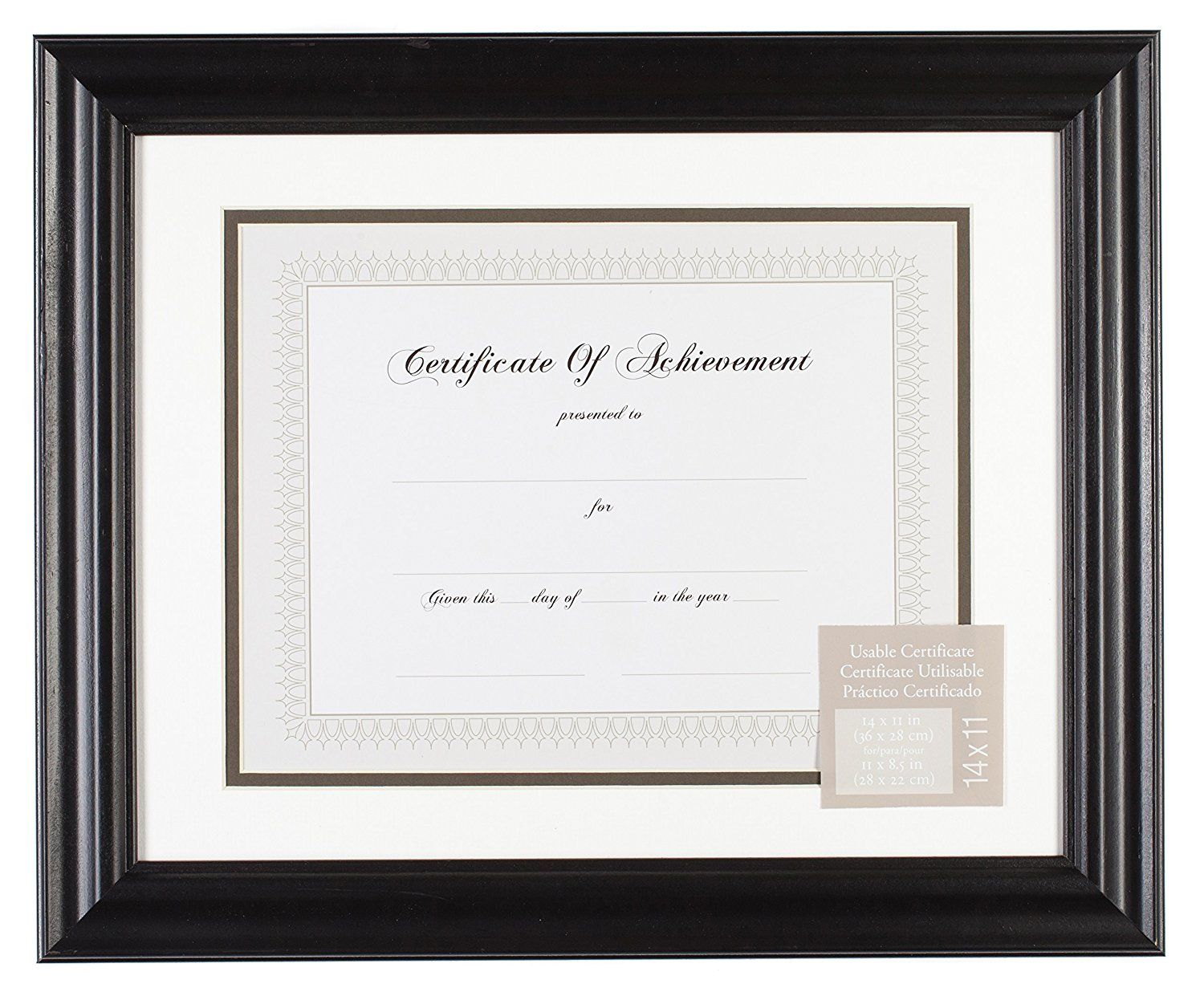 Gallery Solutions Black Satin Document Frame With Fillet Mat 11 By 14 Inch Matted To 8 1 2 By 11 Inch Read More Rev Frame Document Frame Certificate Frames