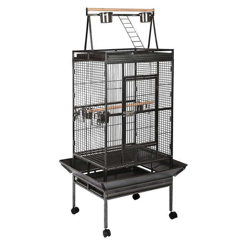 Large Iron Bird Cage with Wheels in Black 173cm   Buy Bird Cages ...
