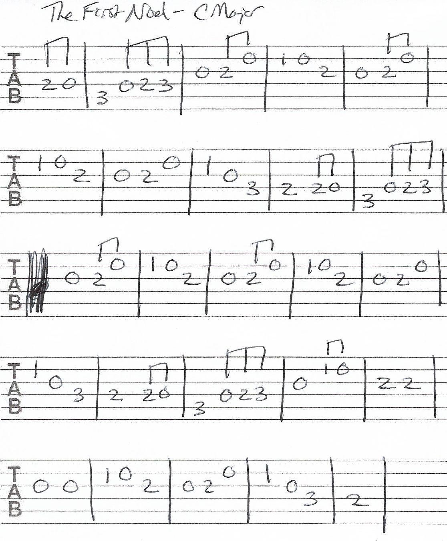The First Noel Guitar Melody Tab C Major Guitar tabs