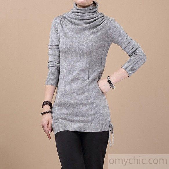 Gray Tunic drawstring knitted sweater