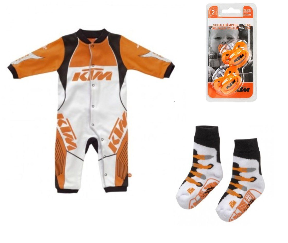 5109ceebb NEW KTM BABY RACING BODY ROMPER ONSIE 9 MONTHS, SOCKS, & PACIFIER SET