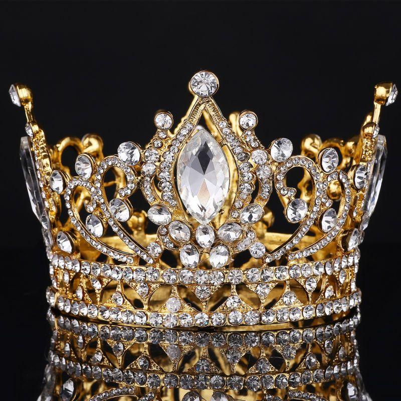 Big European Royal Crown Golden Rhinestone crown Tiara