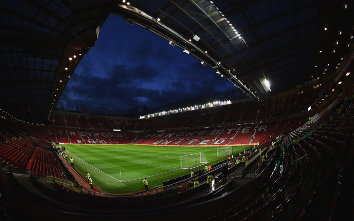 Download Wallpapers 4k Old Trafford Football Stadium Manchester United England Premier League Mu Stadium Besthqwallpapers Com Manchester United Wallpaper Manchester United Old Trafford