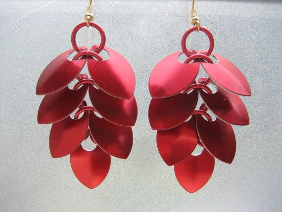 Pinecone Chainmaille and Scale Earrings in Red by Sneath on Etsy, $8.00