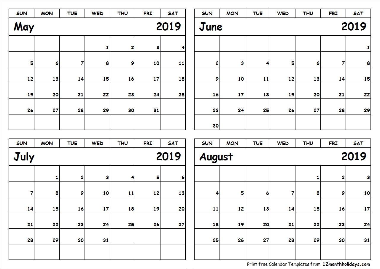 Print May To August 2019 Calendar Template 4 Month Calendar Calendar 2019 May June July August Calendar September Calendar June 2019 Calendar