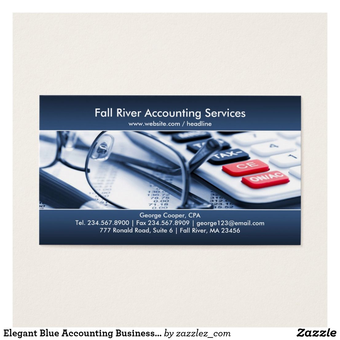 Elegant Blue Accounting Business Card | Business cards and Business