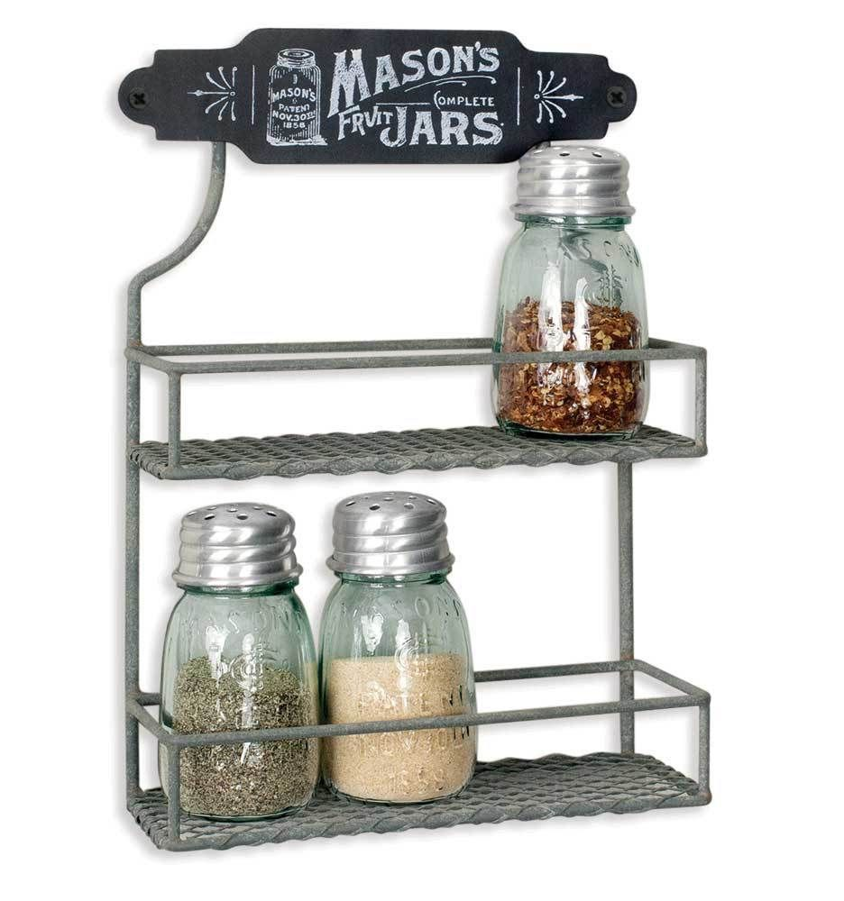Tiny Spice Rack Pantry Shelf Organizer Kitchen Storage Shelves Mason Jar Logo Tinyspicerack Mason Jars Hanging Spice Rack Mason Jar Diy