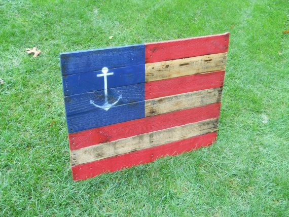 Anchor American Flag Reclaimed Wall Hanger 32 x by CandBWoodShop