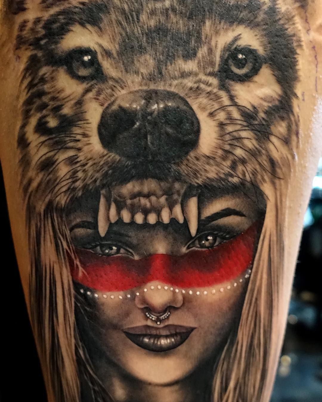 I Got To Do A Native American Wolf Headdress On Theunknownclothingco Last Night Love Doing These Wolf Headdress Native American Tattoos Native American Wolf