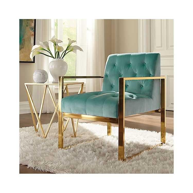 Turquoise Velvet Tufted Gold Frame Accent Chair Gold Accents Living Room Gold Living Room Decor Living Room Turquoise