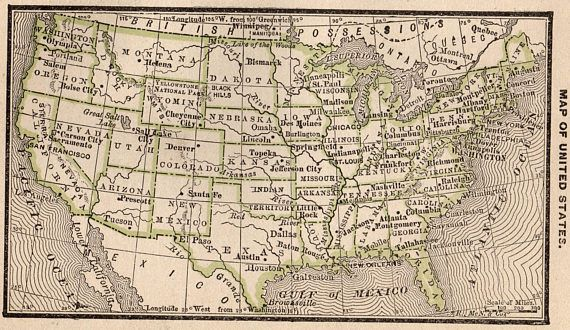 Vintage Map Of The United States.1888 Antique United States Map Vintage Usa Map Of The United States