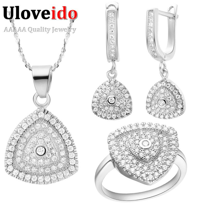 Uloveido Jewellery Sets for Women Silver Rose Gold Color Cubic