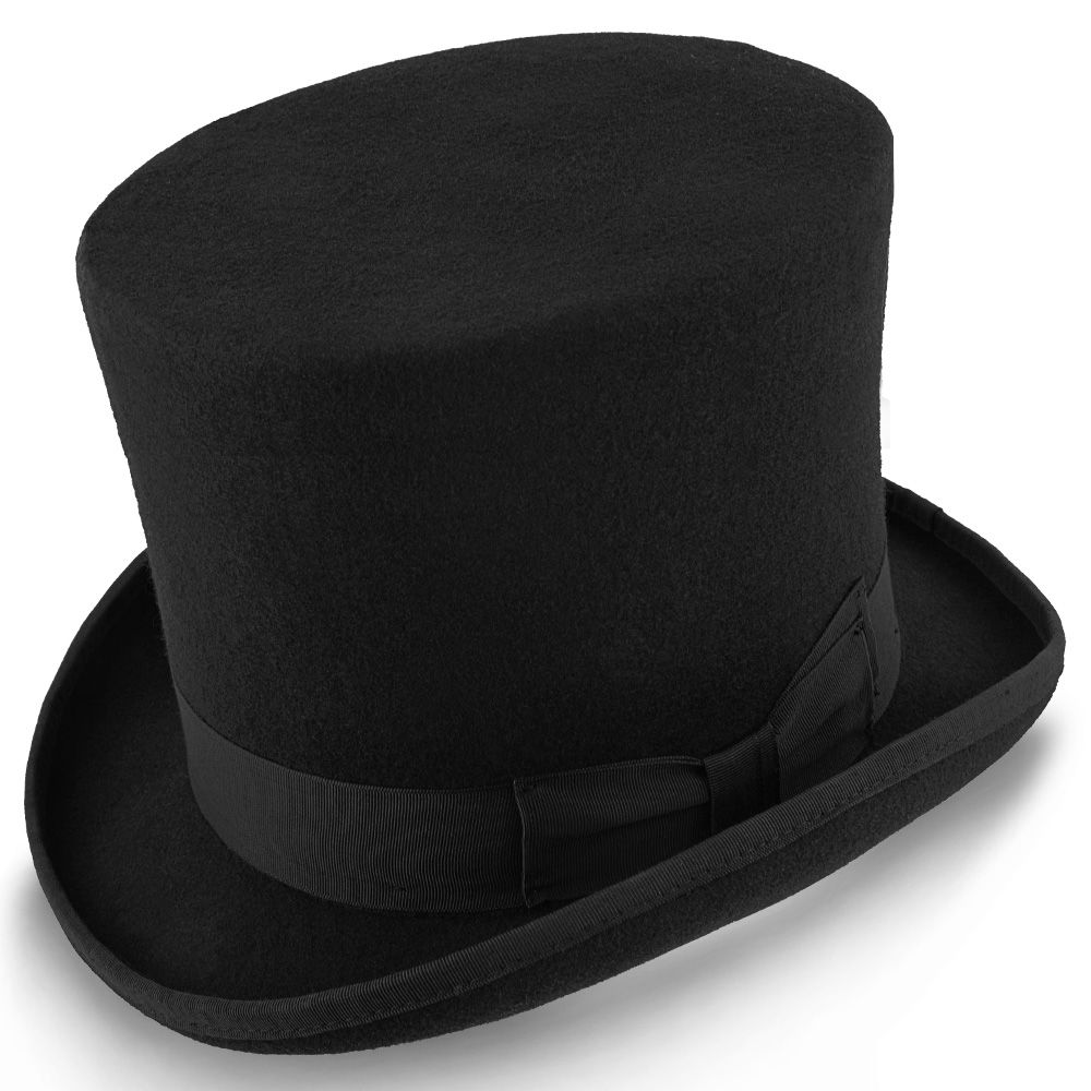 75593264ddf36 Mad Hatter - Walrus Hats Wool Felt 6 in. Height Victorian Top Hat - H7020.
