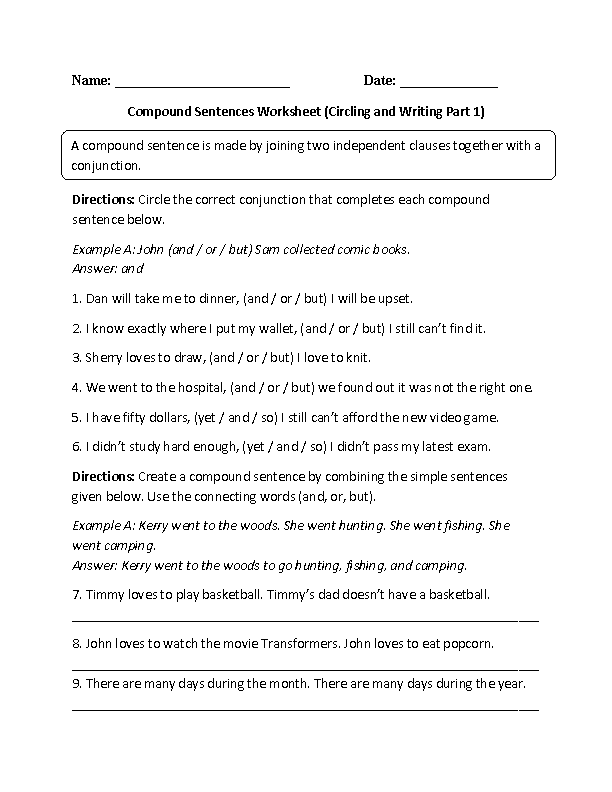 Circing And Writing Compound Sentences Worksheet Classroom Ideas