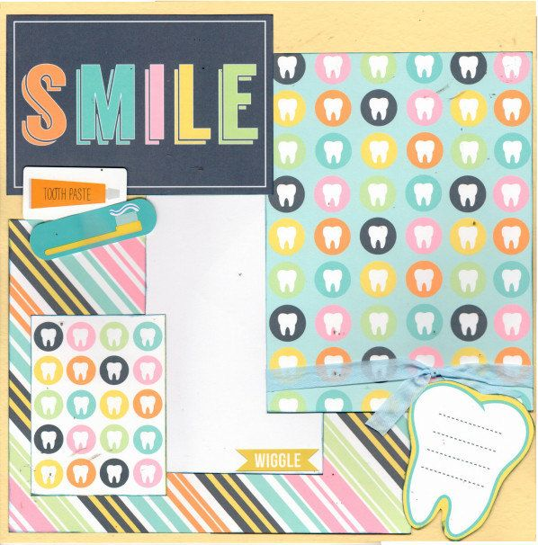 Smile Scrapbooking Page Kit Loose Tooth 1st Tooth No Braces By