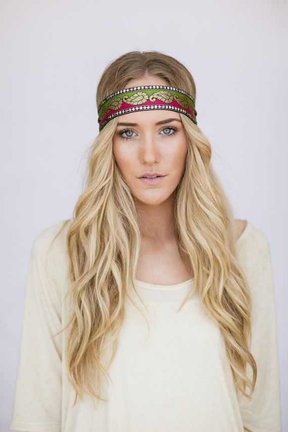 Boho Headband Indian Embroidered Ribbon Bohemian Free Spirited Women's Hair Bands Head Wraps (Green/Pink/ Gold Paisley)