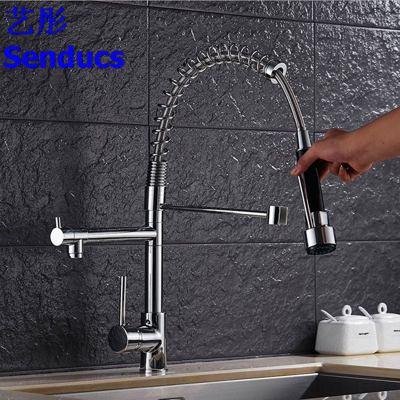 Free shipping Senducs pull out kitchen faucet with single handle ...