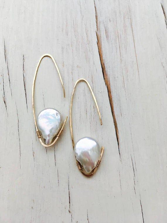 Pearl Earrings Pearl Tear Oblong Hoops Fresh Water Pearl Jewelry Gemstone Jewelry June Birthstone