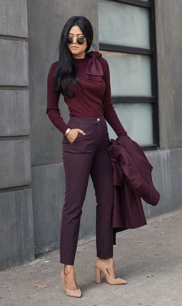 Business professional outfit burgundy purple tie neck shirt cigarette pants nude block heels #businessprofessionaloutfits