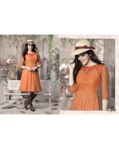 Orange Color Georgette Fabric Kurti