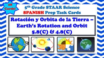 The following is a set of Task Cards that focuses on Earth's Movements (Earths Rotation and Orbit). The following Task Cards...-Contain 28 Cards-Are in Spanish-Multiple Choice-Mirror questions like those seen on 5th Grade STAAR Science Spanish-Can be used in small group or as station-Includes Response Sheet and Answer Key