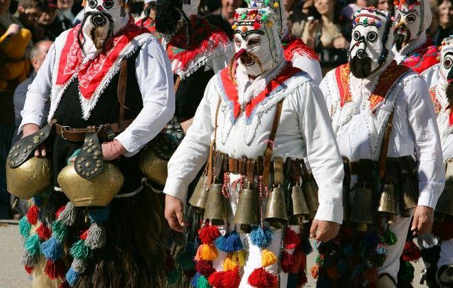 Kukeri early spring festival Bulgaria dance horo folklore music rhythm bells