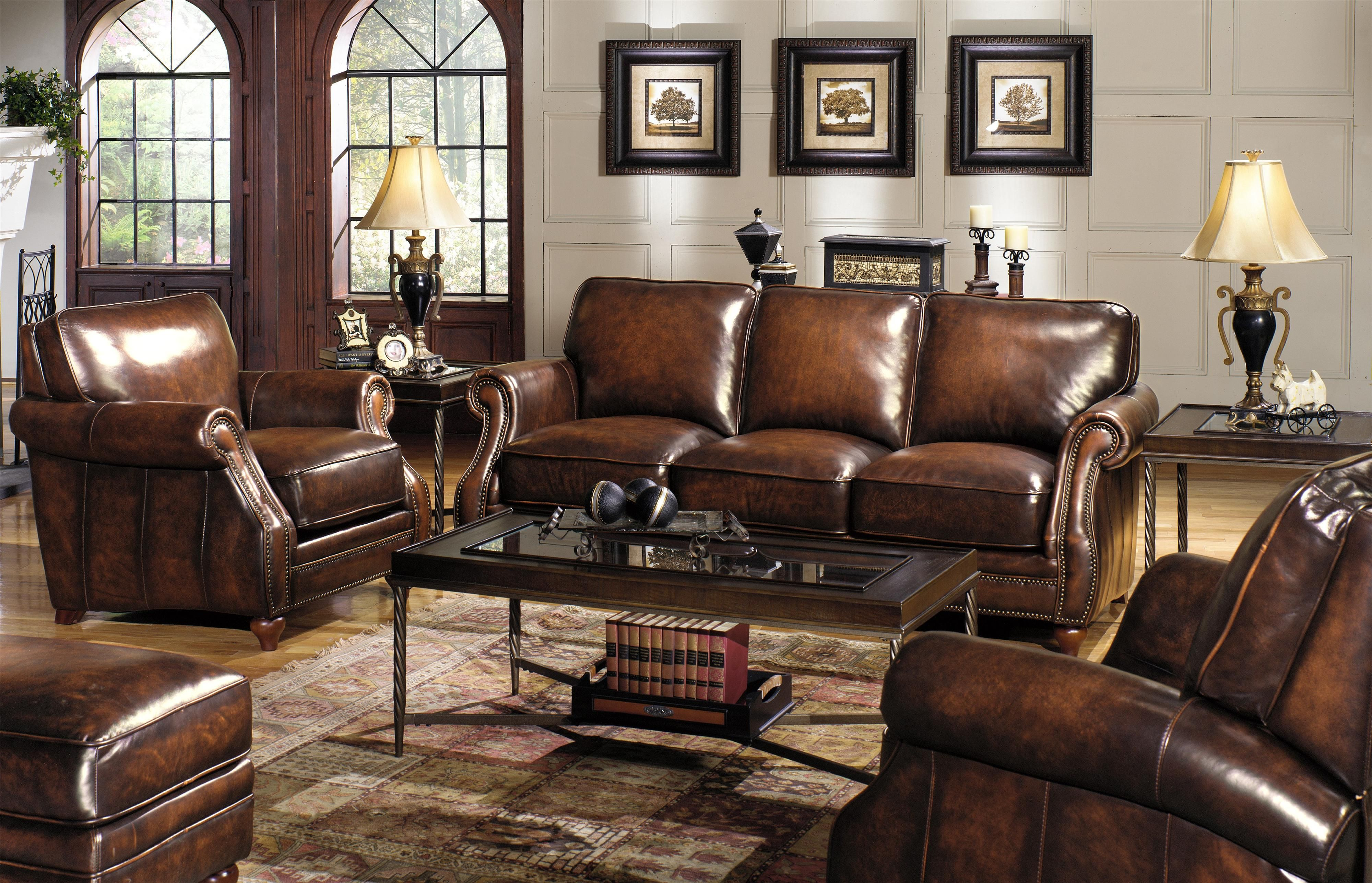 Craftmaster L121500 Traditional Leather Sofa With Rolled Arms And Nailhead Trim Hudson S Furniture