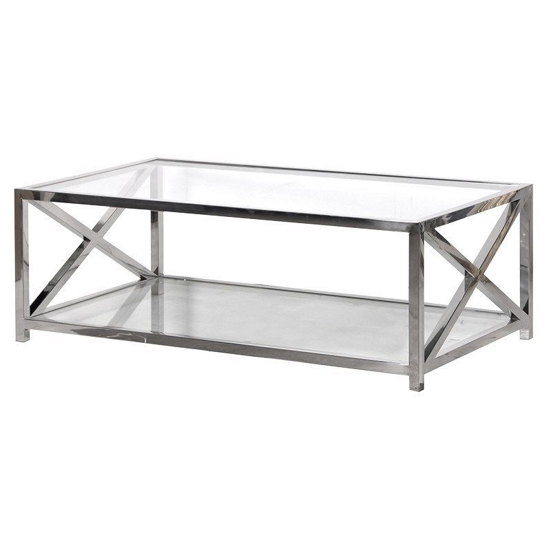 Details About Large Glass And Steel Coffee Table Width 130cm Depth