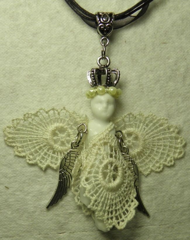 Frozen Charlotte Angel Necklace Antique 1860's by MelancholyMind