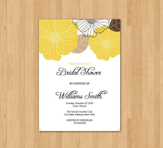 Bridal Shower Invitation Instant Download Printable Floral - bridal shower invitation templates for word