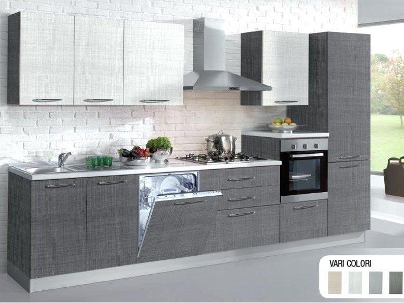 Cucina ar tre moderna lineare grigio in laminato materico tao