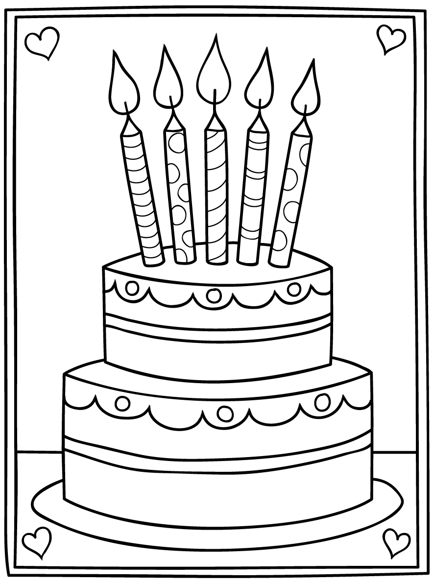 Cartoon Birthday Cake Digi Stamp in 2020 (With images ...