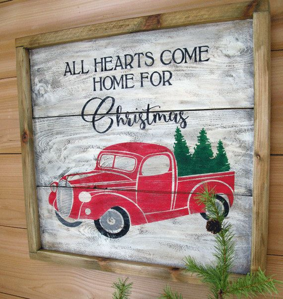 Vintage Red Truck Christmas Decor.Red Truck Christmas Sign Vintage Truck With Christmas Tree
