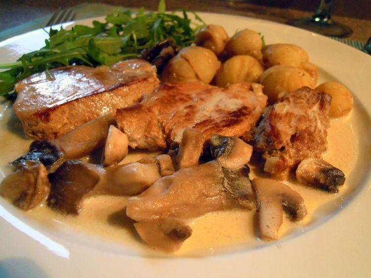Filet mignon de porc au cidre ch taignes et champignons - Cuisiner filet mignon de porc ...