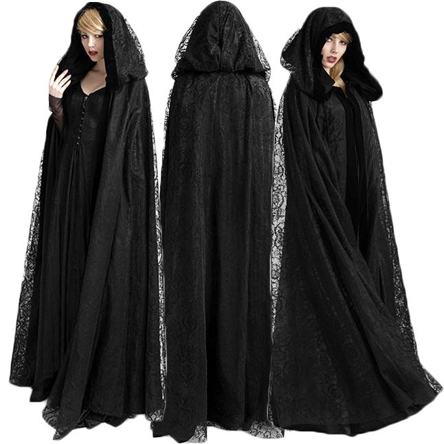 Adults Gothic Lace Hooded Capes