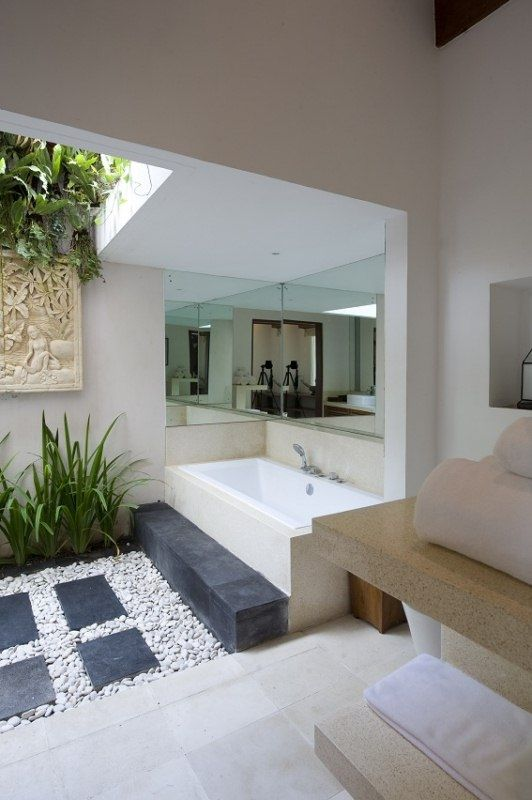 Gorgeous #Bathroom. Love the natural stone that was incorporated here.