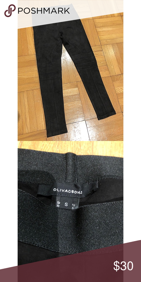 """5ce873ef6737f Black Suede Leggings These """"riding"""" leggings feel like a suede material but  are spandex"""