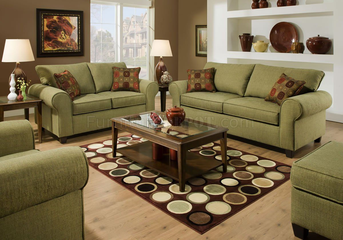 Olive Fabric Modern Casual Sofa Loveseat Set W Throw Pillows