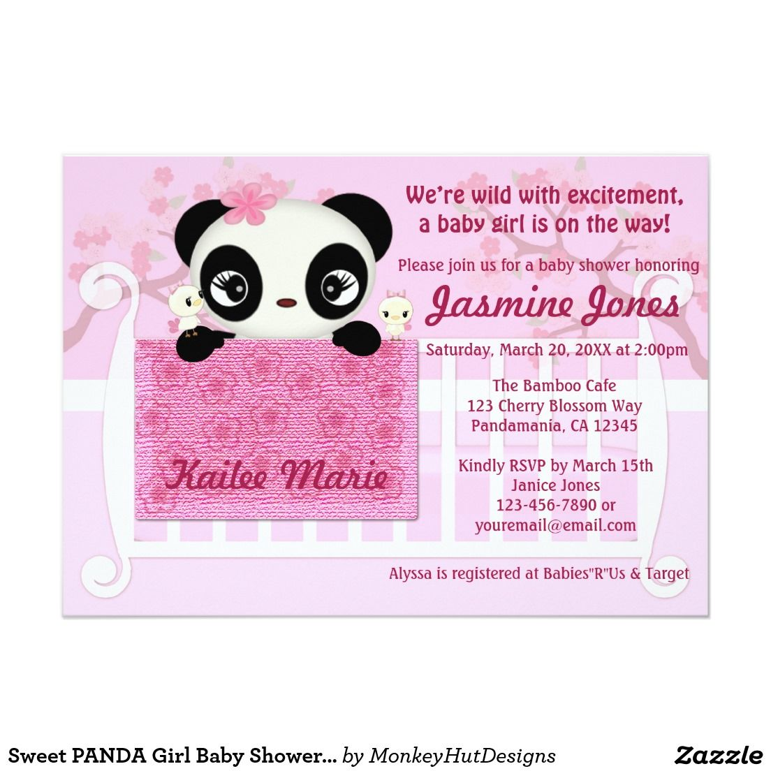 Sweet PANDA Girl Baby Shower Invitation Pink   Shower invitations ...