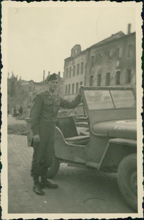 LT. J.L. Huffines with his Jeep in Germany, June 1945. Huffines has been depending on Jeep reliability since 1941.
