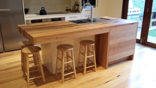 Awe Inspiring Recycled Timber Island Benchtop With Drop Down Edge Timber Squirreltailoven Fun Painted Chair Ideas Images Squirreltailovenorg