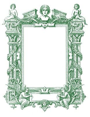 Spectacular Antique French Graphic Frame with Angels   Graphics ...