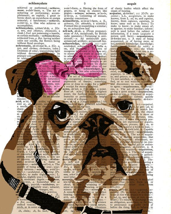 Painting picture English Bulldog Dictionary art print Poster Painting Wall Decor Wall Art Dog illustration page book