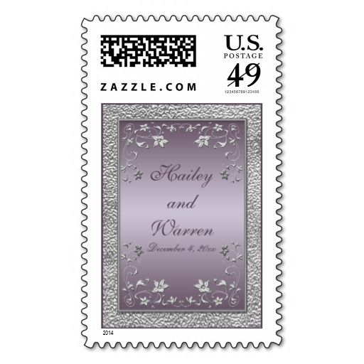 Mauve and Pewter Floral Monogrammed Postage